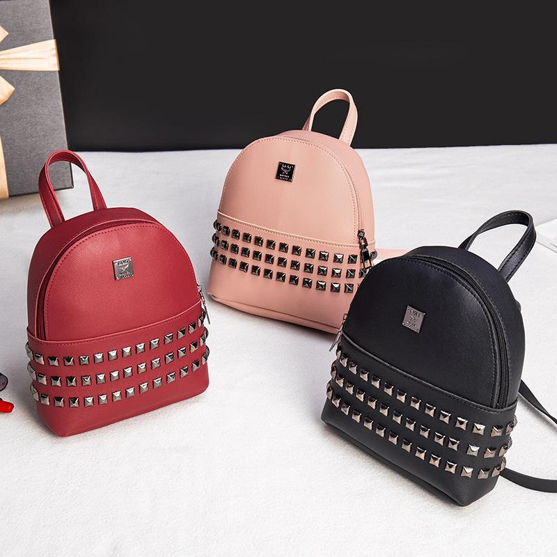 c4f64d2e9321 New Chao Han Version Large Capacity Individual Rivets Handheld Double  Shoulder Bag Backpacks For Girls Waterproof Backpack From Fly5201324