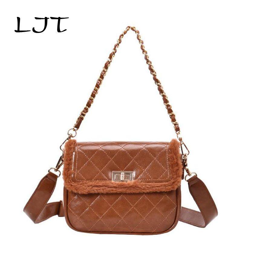 LJT Women Winter Faux Fur Shoulder Bag Fashion Handbag Hairy Rhombic  Versatile Chain Portable Crossbody Party Small Girls Tote Satchel Handbags  Ladies ... 2846a58c3f4be