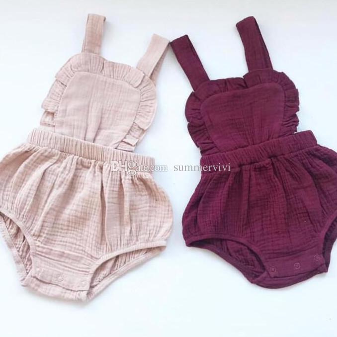 INS Baby cotton linen romper toddler kids ruffle cotton jumpsuits baby boy clothing 2019 spring summer new infant kids diaper F2738