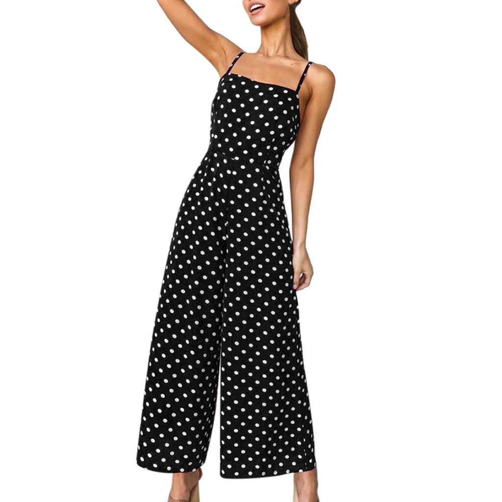 Sommer strampler Womens Polka Dot Holiday Weite Hosen Lange Jumpsuit Backless Strappy Playsuit loosejumpsuits für frauen 2019