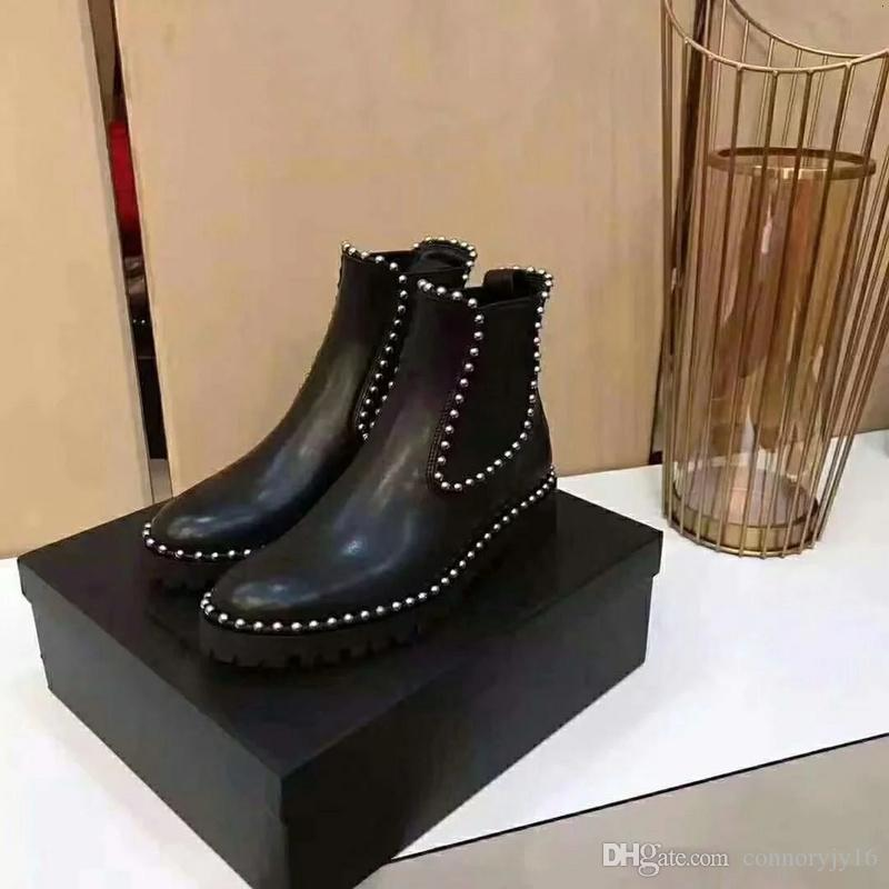 6067fa4e4b4 Luxury Brand Women Luxury Shoes Brand Womens Boots 2018 Brand Fashion Luxury  Designer Women Black Genuine Leather Thick Heel Boots Ski Boots Boots No 7  From ...
