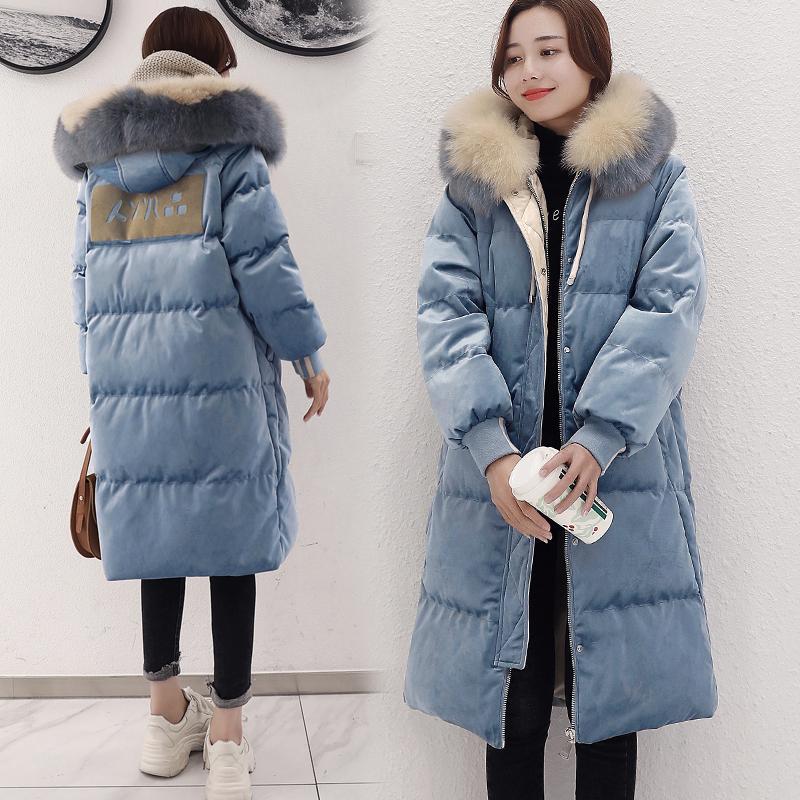 meilleur service b5b0b d58f5 2019 nouvelles femmes vêtements d hiver grande taille longue doudoune femme  or velours collier de fourrure bleu sur le genou manteau YYY359