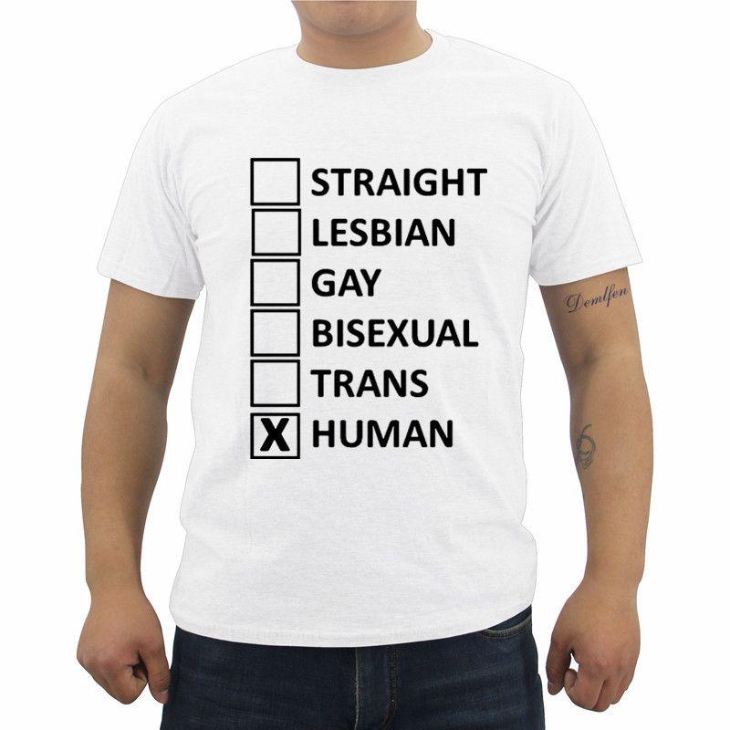 e09fe5bc8a56 Funny Straight Lesbian Gay Bisexual Trans Human Tolerance T-shirt Summer  Men's Short Sleeve O - Neck Cotton T Shirt Cool Tees Tops