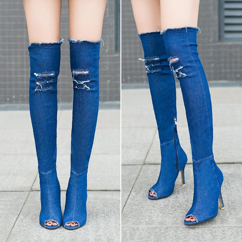 a61402de42 High Heels Jeans Shoes Cowboy Boots For Women Denim Woman Large Thigh Peep  Over Heeled Knee Summer Plus Booties Long Army Boots Peep Toe Booties From  ...