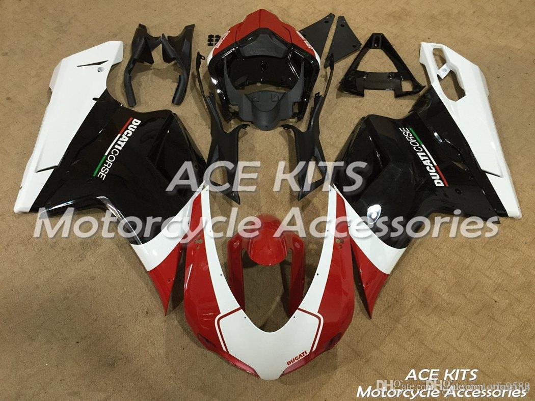 ACE KITS Carénage de moto Pour DUCATI 848 1098 1198 2007 2008 2009 2010 2011 Injection ou Compression Carrosserie rouge Noir Blanc N ° V8