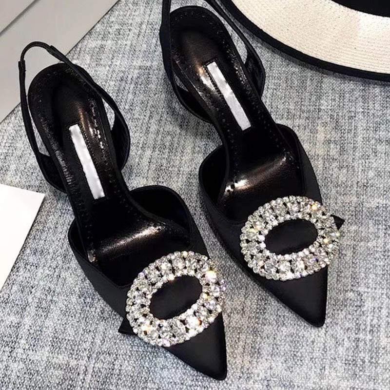Spring Genuine Leather Austria Drill Baotou Thin Heels Waterproof Shoes Female Pure Hand Pleated Sexy High Heels Women `s Half Slippers