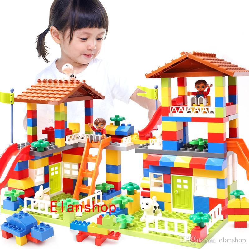 DIY Colorful City House Roof Big Particle Building Blocks Castle Educational Toy Friends Figures Game Toys for Children