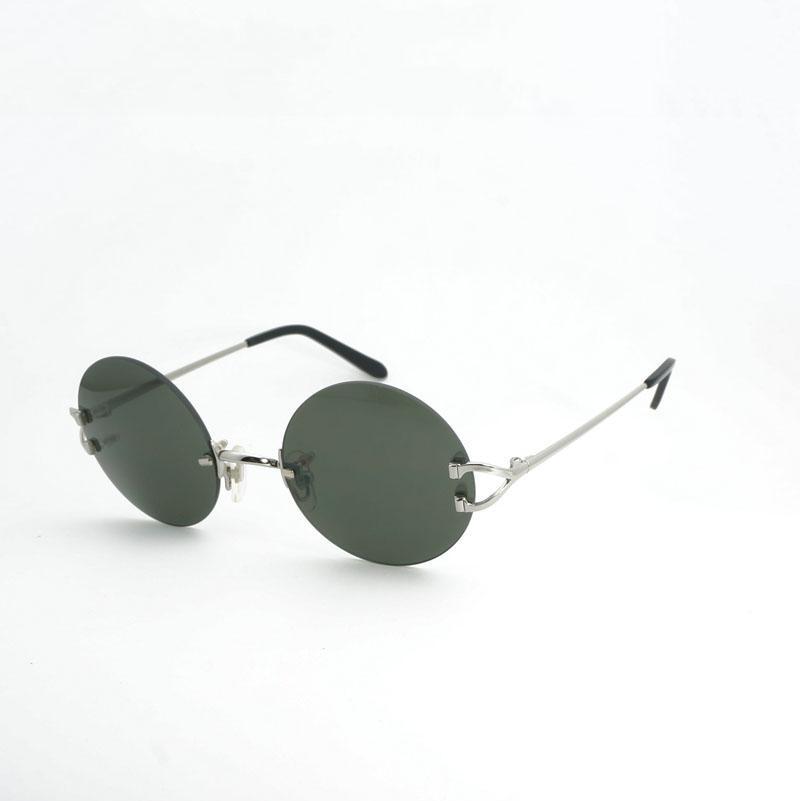 376b0e3fe Compre Vintage Pequeno Rodada Óculos De Sol Dos Homens De Metal Armação Sem  Aro Óculos De Sol Mulheres Shades Para Óculos Ao Ar Livre Acessórios Oculos  ...