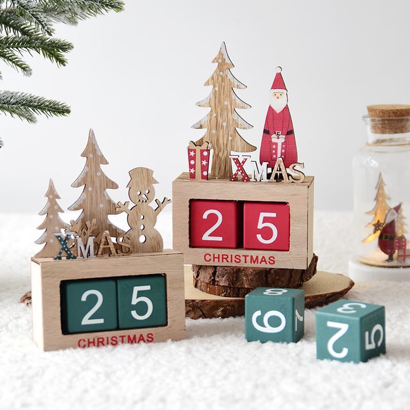 Weihnachtskalender Elch.2018 Holz Mini Weihnachtskalender Schneemann Elch Desktop Dekoration Kinder Kinder Geschenk Spielzeug 2019 Neujahr Dekoration