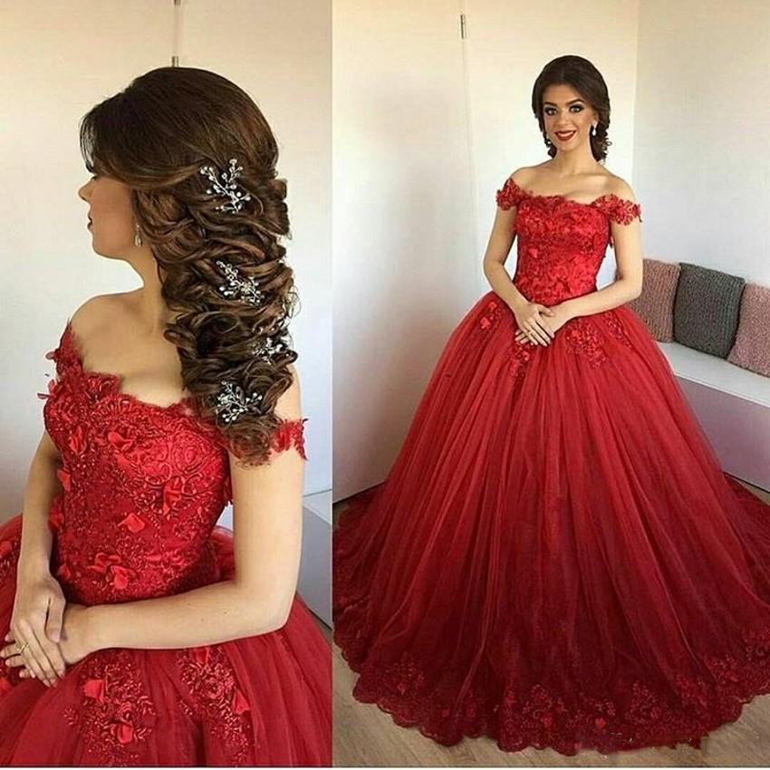 62edb115c Compre Magníficos Vestidos Largos De Baile 2019 Tul Rojo Una Línea De  Encaje Vestidos De Graduación Baratos Vestido De Gala Vestido Formatura  Vestido De ...
