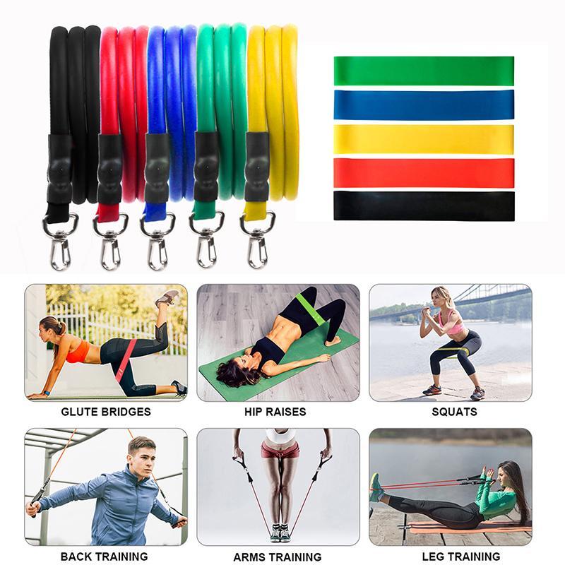 11 18 piezas Set tire de la cuerda ejercicios de fitness Bandas de resistencia del látex Tubos pedal Entrenamiento Corporal excerciser entrenamiento elástico Yoga Band En Stock