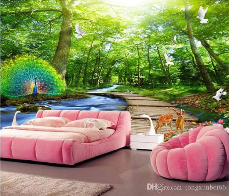 gro handel benutzerdefinierte wandbild tapete 3d wald pfau holz br cke natur landschaft foto. Black Bedroom Furniture Sets. Home Design Ideas