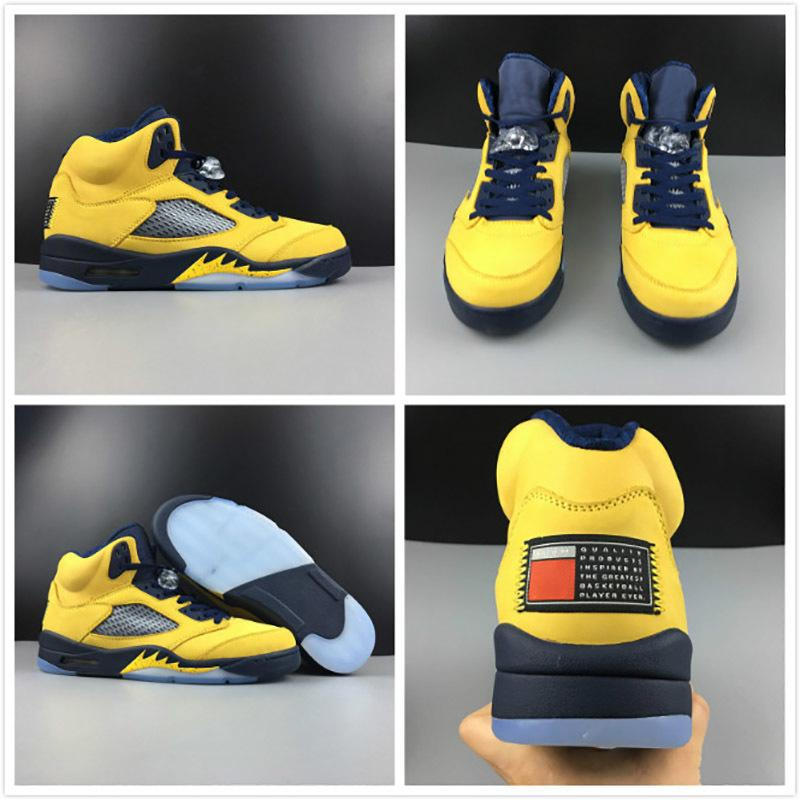 low priced f8f18 a6401 Newest Basketball Shoes 5 5s Sp Michigan Design Mens Yellow Navy Blue Color  Designer Shoes Outdoor Trainer Sneakers High Quality