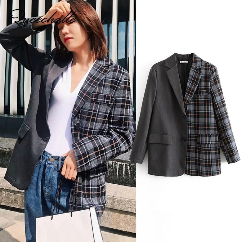 82856e39d9 2019 Queechalle Women S Blazer Coat 2018 Autumn Suit Jacket Female Plaid  Patchwork Loose Blazer Coats Office Lady Casual Outerwear From Morph1ne