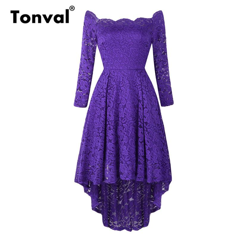 429ab1210b Tonval High Low Hem Purple Midi Lace Long Sleeve Dress Off Shoulder Sexy Women  Dresses Evening Party Elegant Dress Dress Maxi Dresses From Runlione