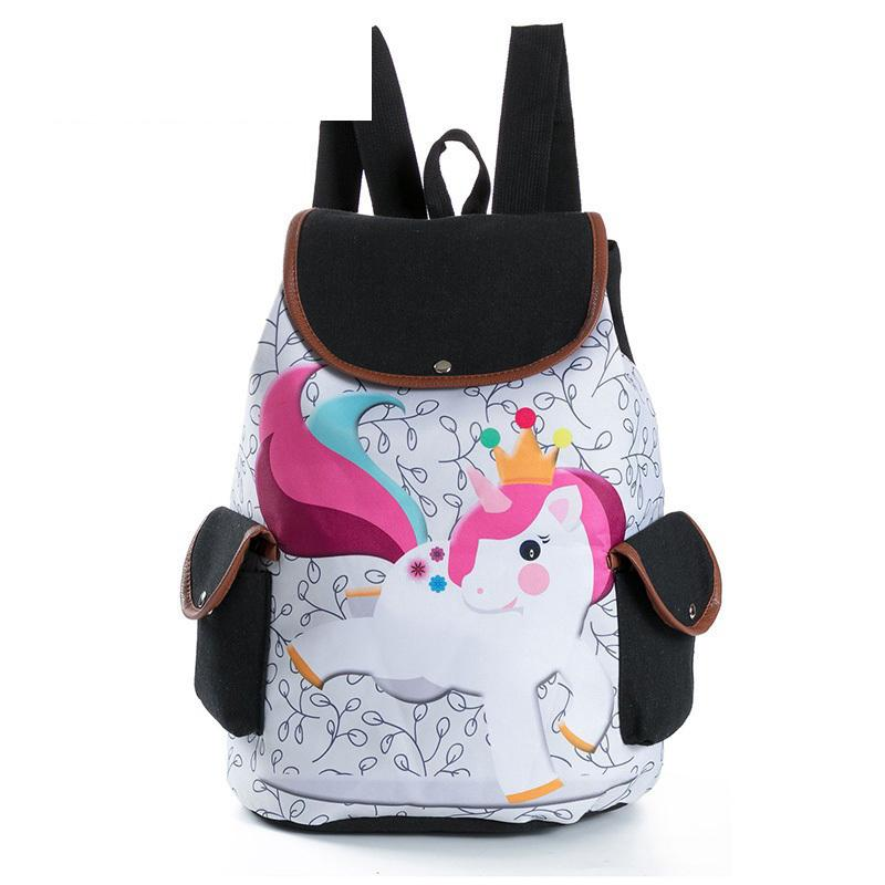 410195adca0b8 Good Quality Cartoon Unicorn Printed Casual Backpack Female Canvas  Drawstring Design School Backpack For Teenage Girls Travel Bag Book Bags  Herschel ...
