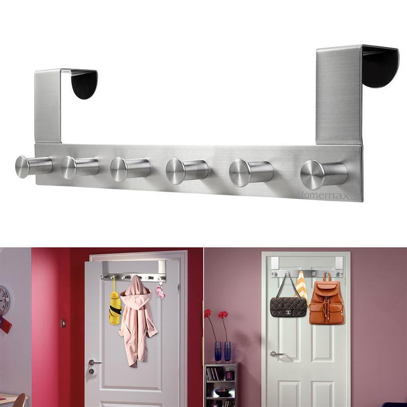Bathroom Hardware Multi Functional Stainless Steel Wall Mounted Hook Rack Hook Rail Coat Rack 6 Hooks Home Storage Organization Bedroom Bathroom