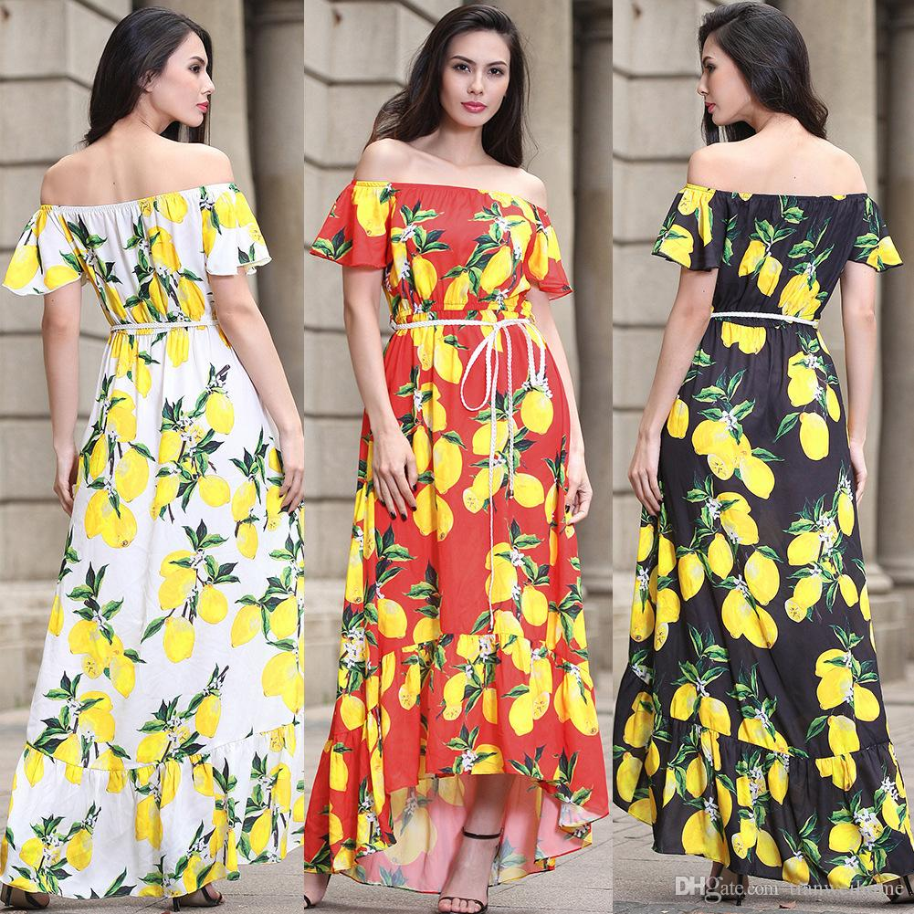 7a0a2593bf Women Floral Print Off Shoulder Boho Dress Evening Gown Party Long Maxi  Dress Summer Sundress Casual Dresses Size S 3XL White Lace Dress Casual  Green ...