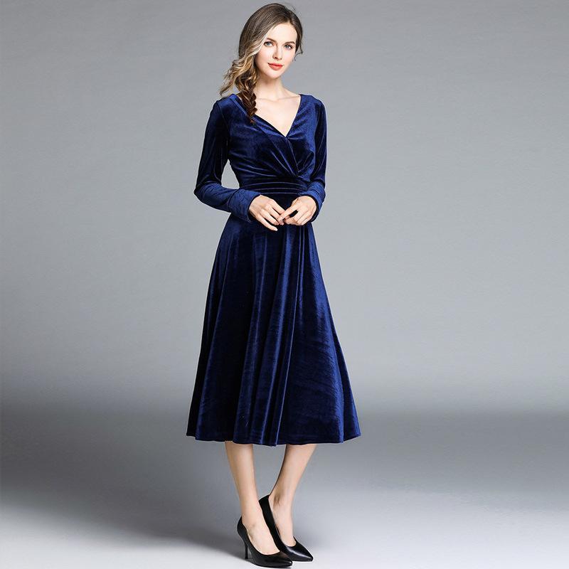 1140e3870277 Acquista 2019 Abito Da Ballo Da Sera Elegante Abito Da Cerimonia Elegante Da  Uomo In Velluto Lungo Con Scollo A V Slim Fit Dress Plus A  39.1 Dal ...