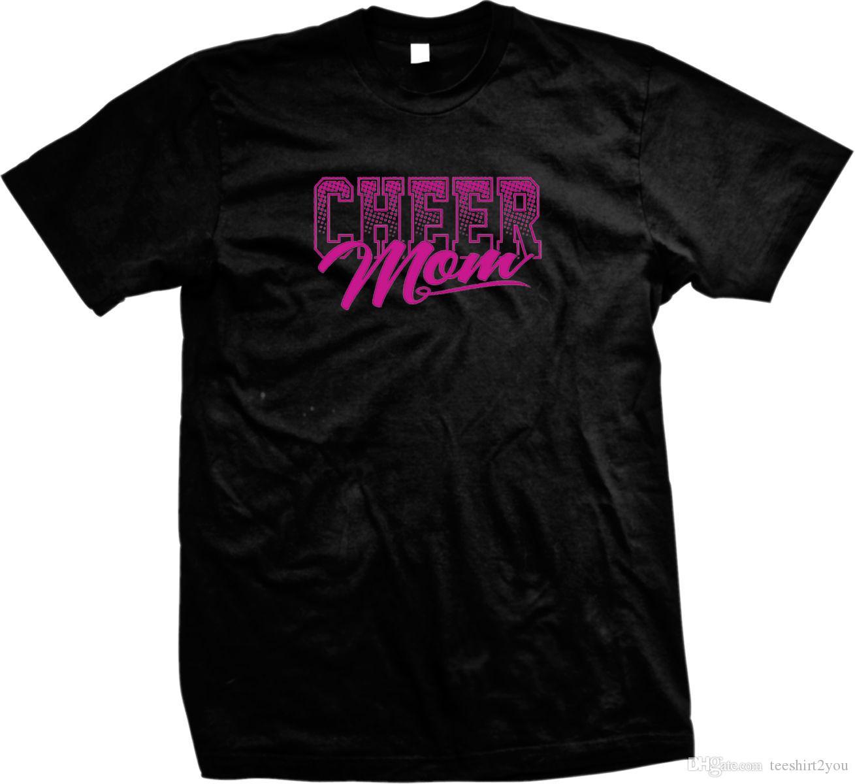 201387889 Compre Cheer Mom Cheerleading Mãe Mãe Cheerleader Hot Pink Mens T Shirt T  Shirt Car Styling Marca De Roupas De Algodão Crewneck 3XL Manga Curta Cu  De .