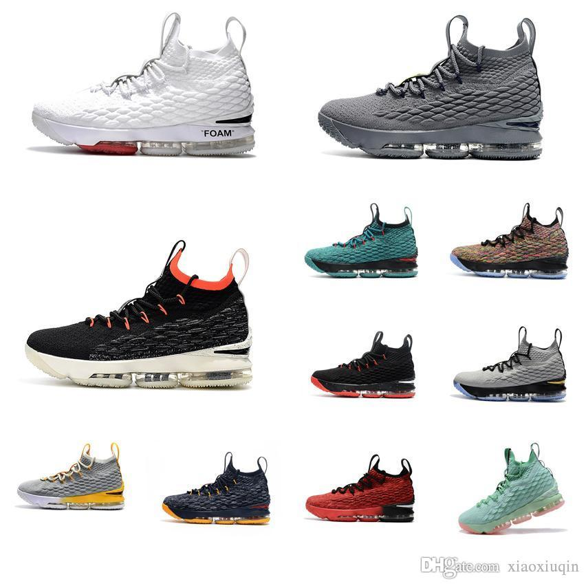 4bf57f5c11a 2019 Cheap Men Lebron 15 Basketball Shoes For Sale White Foams Black Bright  Crimson Bred Youth Kids Outdoor Sneakers Tennis With Box Size 7 To 12 From  ...