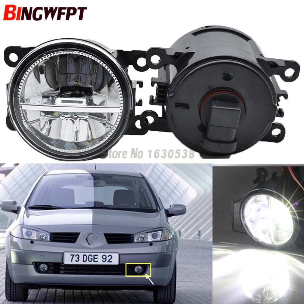2x Car Styling 6000K White High Power LED Fog Lamps DRL Lights For Renault MEGANE 2/3/CC Fluence Koleos SANDERO STEPWAY