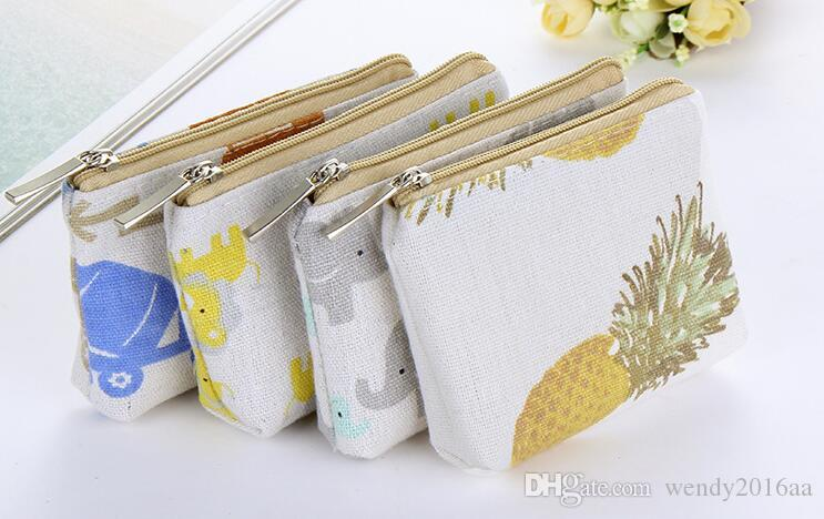 200pcs Elephant Lion Printed Vintage Zipper Pencil Case Cute Portable Min Key Coin Purse Makeup Bag