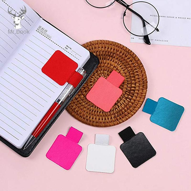 Pen Holders Self-adhesive Leather Pen Clip Pencil Elastic Loop For Notebooks Journals Clipboards Pen Holder Office & School Supplies