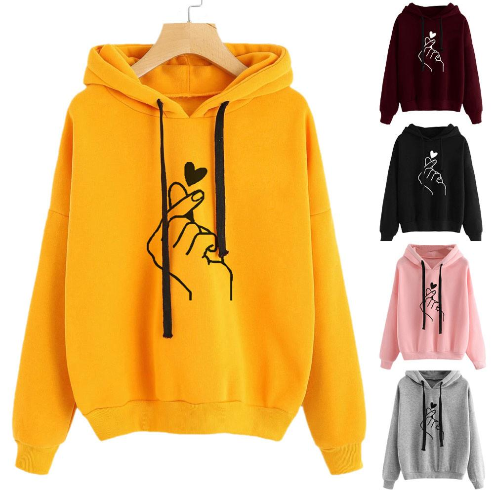 Fashion Printed Hoodie Womens Long Sleeve Hoodies Sweatshirt Jumper Hooded Pullover Tops Blouse Casual Trendy Streetwear Hoodies