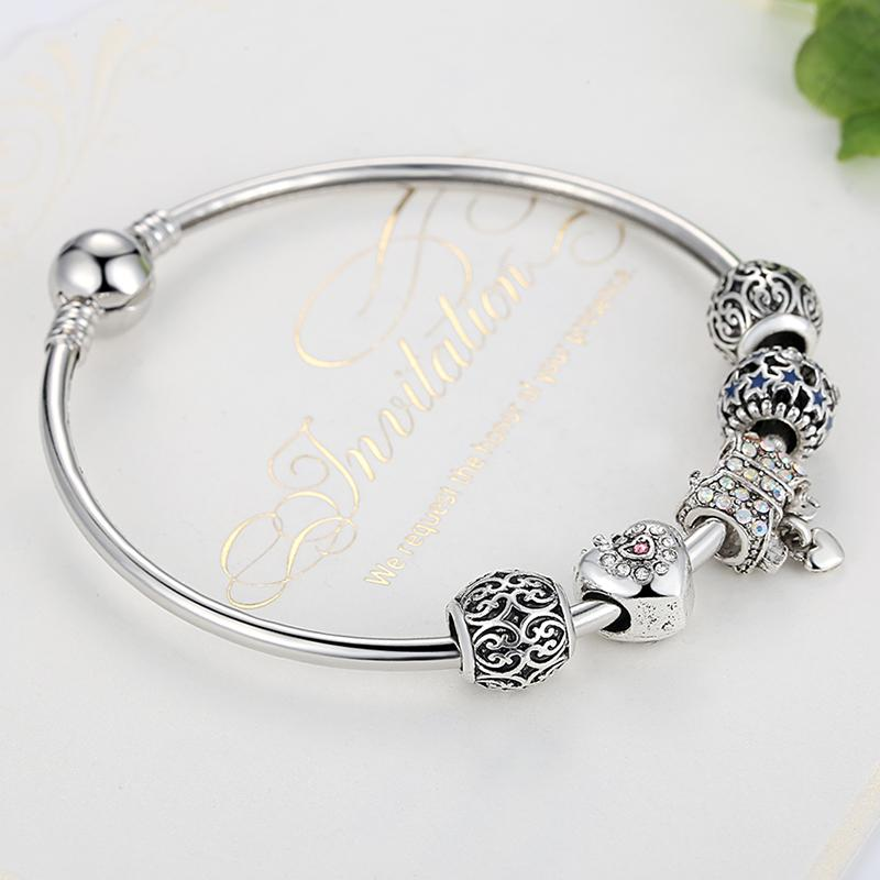 Hot4U Silver Plated Bow Knot Heart Star Beads Charms Bangles&Bracelet for Women Jewelry Friendship Bangles Gift Wholesale Free Shipping