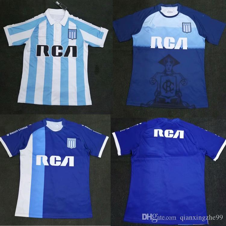 Nueva Camiseta 2019 Racing Club De Fútbol 2018 Racing De Avellaneda  LISANDRO En Casa Lejos Bou 7 Fernández 8 Centurión 10 R.CENTURION Camiseta  De Fútbol Por ... f68f73c716c91