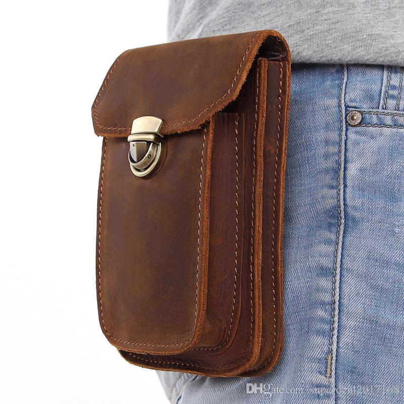 61dba291ff5a NEW Genuine Leather Vintage Waist Packs Men Travel Fanny Pack Belt Loops  Hip Bum Bag Waist Bag Mobile Phone Pouch