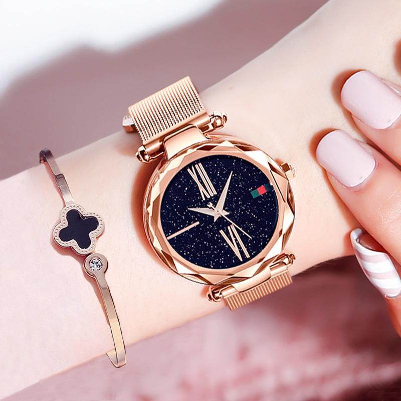 36201629542d Compre Lujo Oro Rosa Relojes De Las Mujeres Minimalismo Cielo Estrellado  Imán Hebilla Moda Casual Reloj Femenino Impermeable Número Romano A  29.6  Del ...