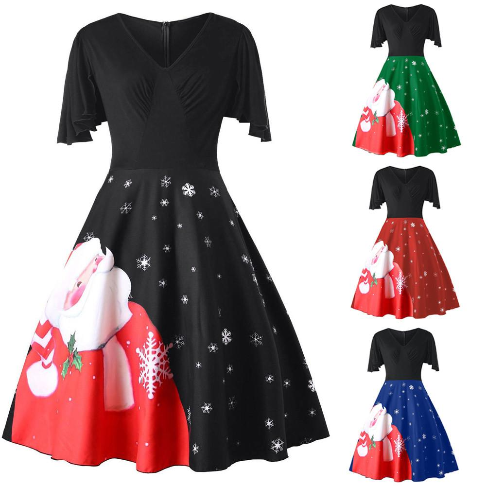 Fashion Womens Plus Size Christmas Santa Claus V-Neck Party Vintage Swing  Dress christmas dress party vestidos