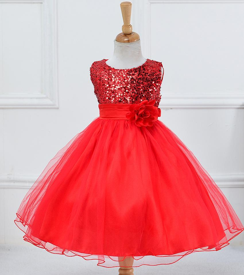 0472e5494 New Style Fashion Girl's FlowerDress Cute Sequin Sleeveless Vest Princess  Lace Dress Baby Kids Party Wedding Bridesmaid Vestido Wholesale