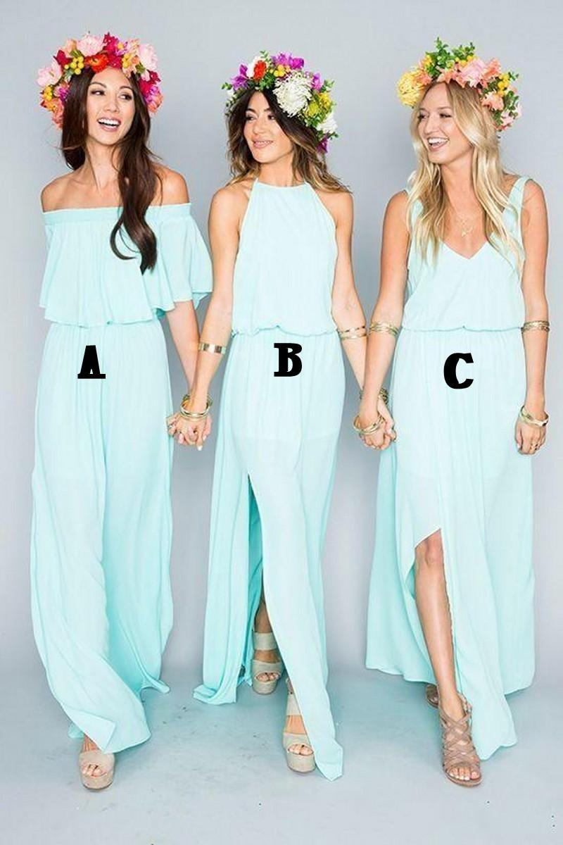 2019 New Summer Beach Mint Green Bridesmaid Dresses Mixed Style Flow Chiffon Side Split Boho Custom Made Cheap Bridesmaid Gowns
