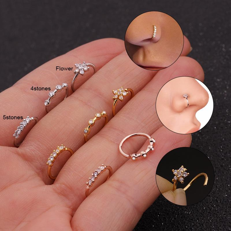 Feelgood 1pc Silver And Gold Color 20gx8mm Nose Piercing Jewelry Cz Nose Hoop Nostril Ring Flower Helix Cartilage Tragus Earring SH190727