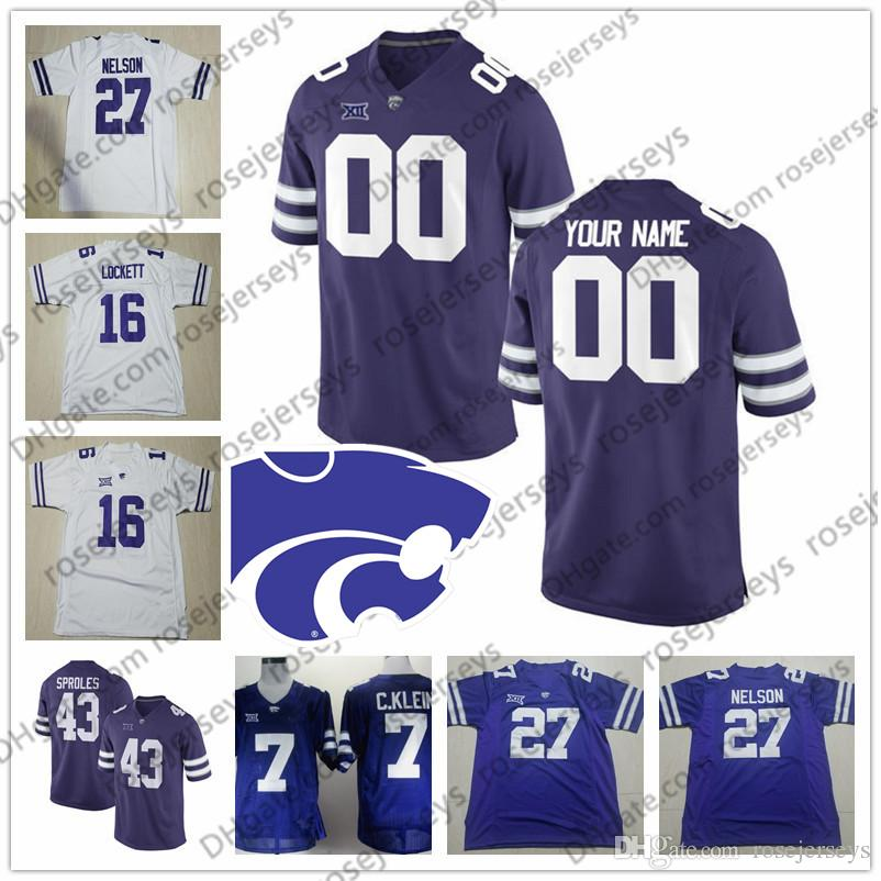 02753f26aac 2019 Custom Kansas State Wildcats Football Purple White Any Name Number #5  Alex Delton 3 Dalvin Warmack 35 Michael Sproles Lockett Jerseys S 4XL From  ...