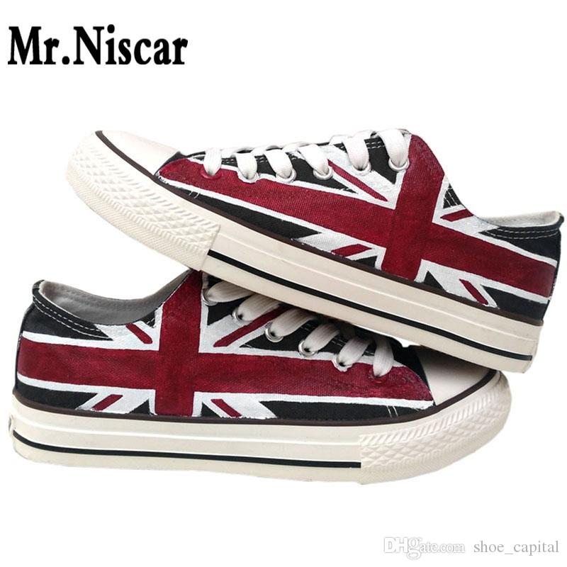 988bf70805ac Mr.Niscar Design Custom Hand Painted Shoes Casual UK Flag Low Top Men  Unisex Black Union Jack Canvas Sneakers For Birthday Gifts  194768 Wedge  Shoes Walking ...