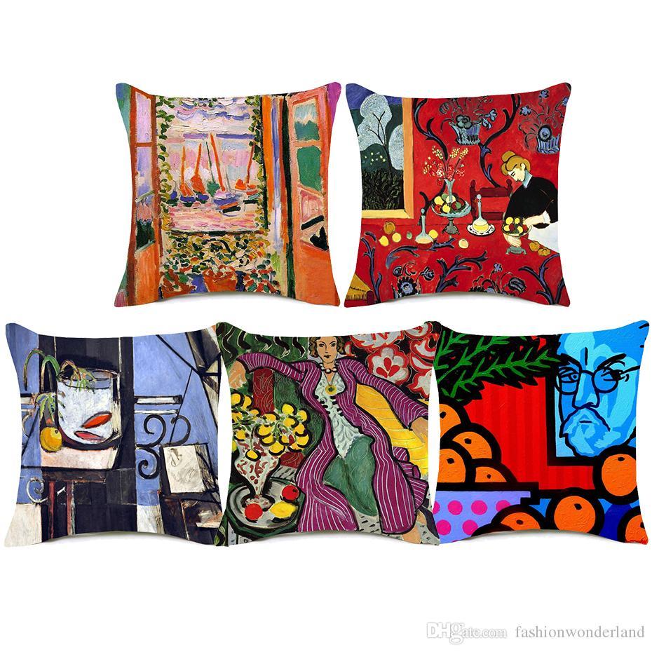 Compre Henri Matisse Pinturas Fundas De Cojines Mujer Con Sombrero La  Ventana Abierta Arte Funda De Cojín Decorativo Lino Algodón Silla De  Almohada Silla A ... 8ac25283dd1