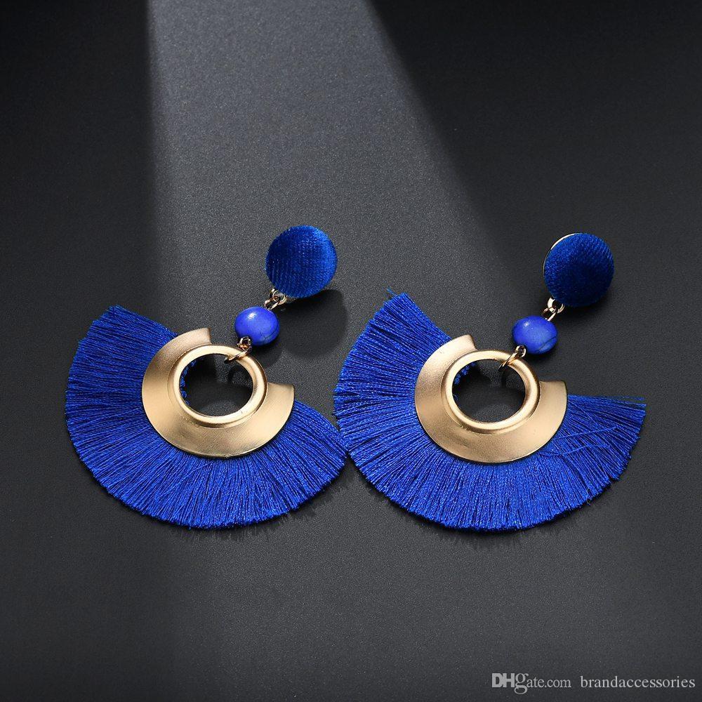 Böhmische Rose Gold Creolen Frauen Fan geformt Quaste Ohrringe Lange Fransen Tropfenohrring Pendientes Party Jubiläumsgeschenk E1822