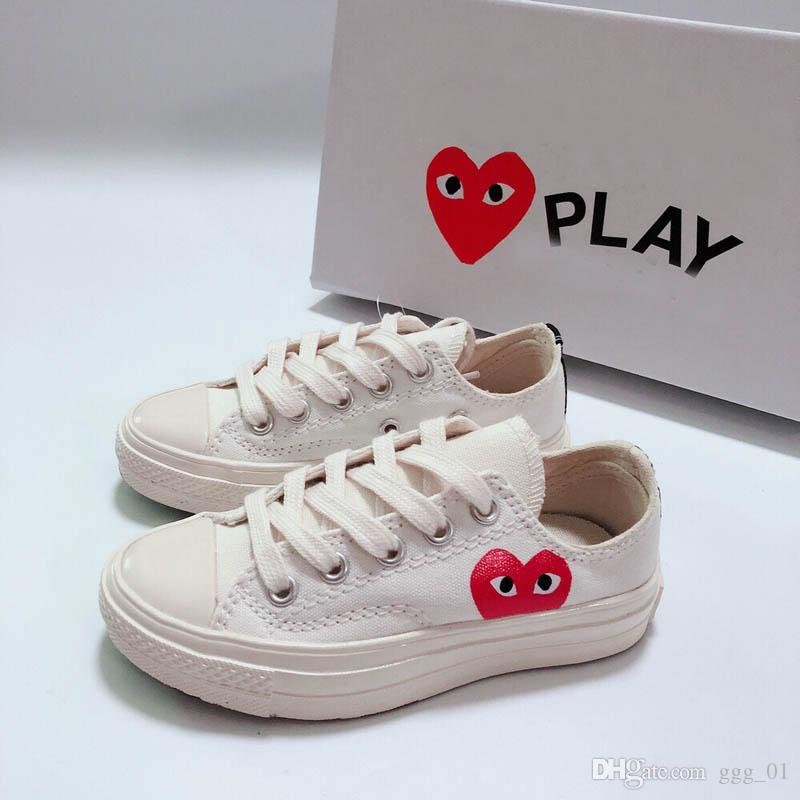 2019 new big eyes love heart 1970s Niños Running zapatos de skate boy girl young kid sport Sneaker size 28-35
