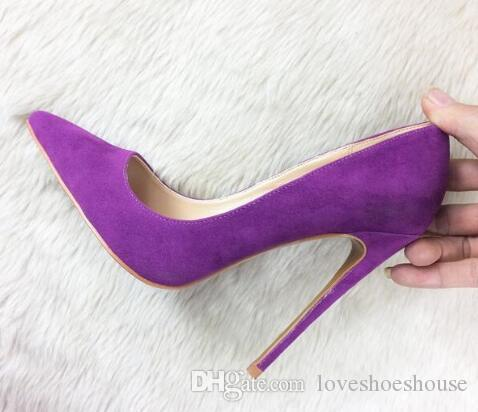 d000714405c Sexy2019 Elegant Purple Suede Women Pumps High Heels Pointed Toe ...