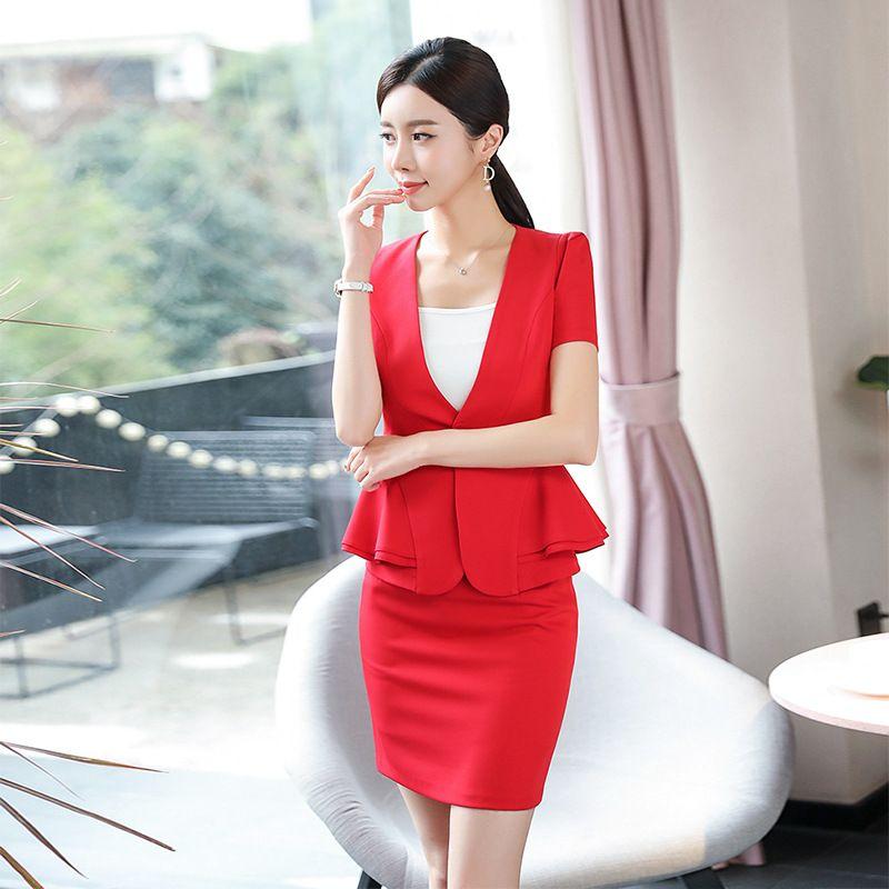 2c0afbfb4 2019 Beige Summer Office Clothes 2019 Formal Lady Uniform Tailleur Femme  Jupe Et Veste Elegant Business Skirt Suit Work Wear From Yamazak
