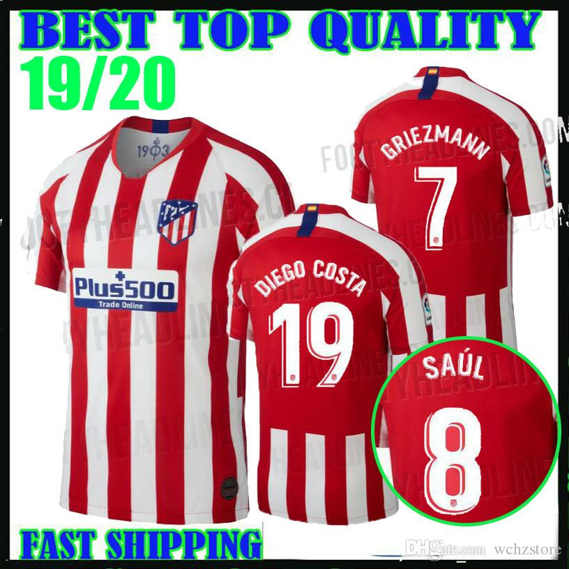 new arrival 4a816 66bd0 2019 GRIEZMANN atletico Madrid home Soccer Jerseys KOKE SAUL DIEGO COSTA  camisetas de fútbol 19 20 champions league GODIN football shirts