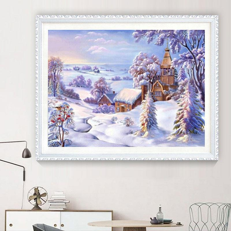 Diamond Painting Winter Wonderland Theme Party Decorations European Style Cottage Snow Scene Cross Stitch Home Christmas Decor