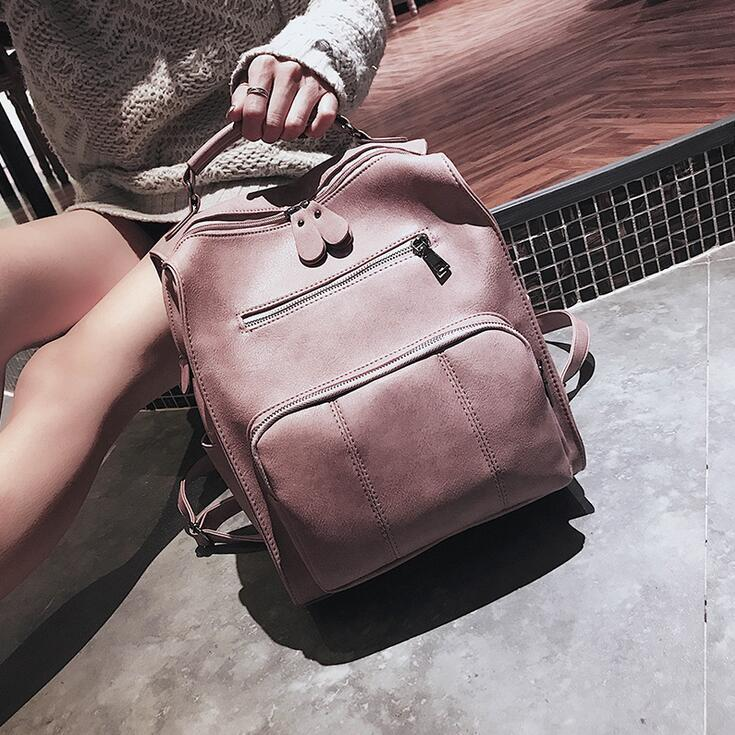 e25207ecc07 School Backpacks Style 2019 Fashion New Women Backpacks High Quality Pu  Leather Vintage Large Shoulder Bag Travel Books Rucksack