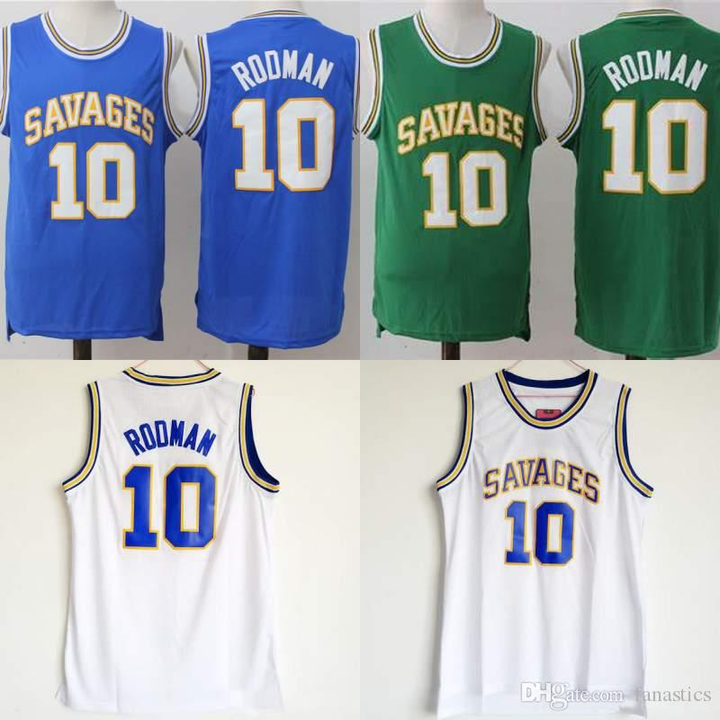 detailed look 97273 75639 10 Dennis Rodman College Basketball Jersey Men Sale Oklahoma Savages  Jerseys Breathable Pure Cotton For Sport Fans Team Blue Green White