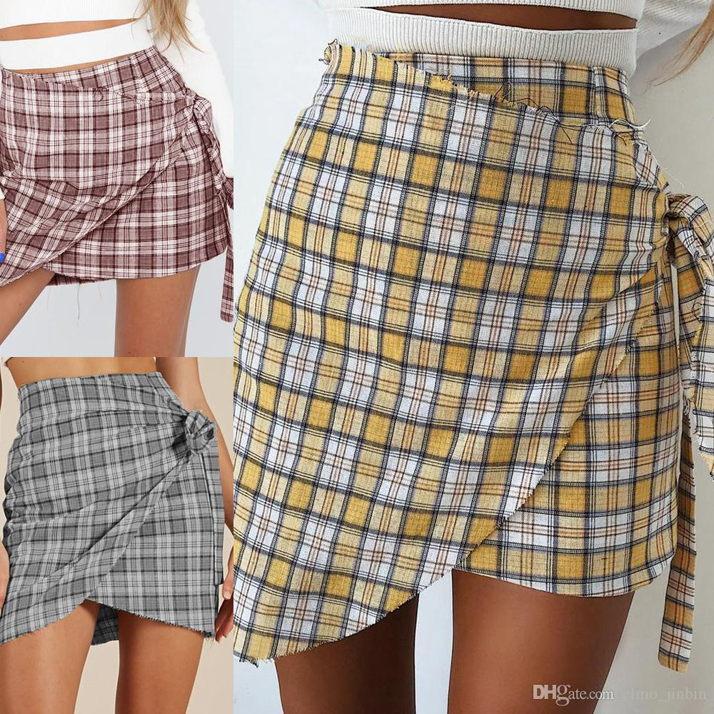 222f35e3b 2019 Chiffon Plaid Short Skirt Women Ruffle High Waist Bow Tie A Line Skirts  Female Bottom Vintage Mini Skirt Summer Beach SJ1821 From Elmo_jinbin, ...