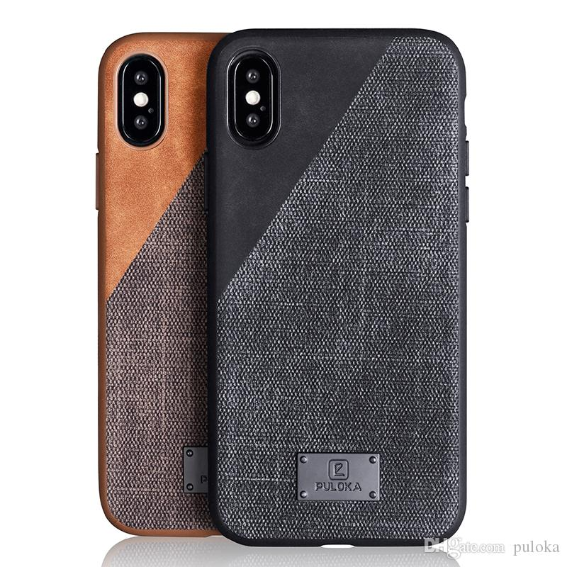 los angeles b236b 6d495 PULOKA iPhone Xs Case, iPhone X/10 Case Leather Cover Case Protective Ultra  Thin Anti-Slip Vintage Shell Hard Back Cover for Apple iPhone